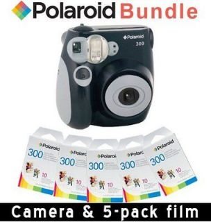 POLAROID CAMERA INSTANT PIC 300 BLACK and 50 FILM (Five (5) Packs)