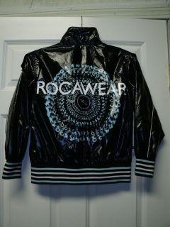 ROCA WEAR Logo Embellished Womens Ladies Girls Black Patent Jacket