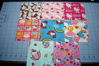 Newly listed 32 HELLO KITTY 5x5 Quilt Fabric Squares  8 Patterns NEW