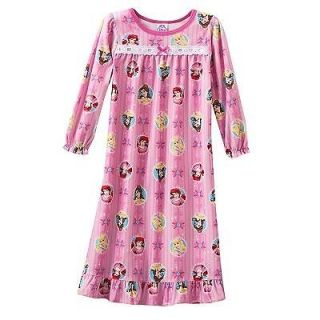 Disney Princess Girls Toddler Flannel Ruffled Nightgown Dress 2T 3T 4T