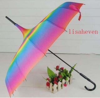 Rainbow Pagoda Parasol wind proof umbrella Polyester Super UV