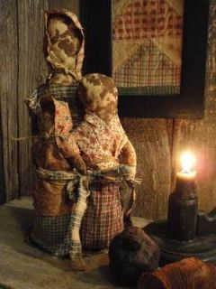 PRIMITIVE LK GRUNGY SIMPLE STUMP RAG DOLL GATHERING HAND MADE OOAK
