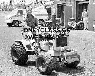 1971 A.J. FOYT ON HUSKY PUSH TRACTOR  POCONO RACE PHOTO