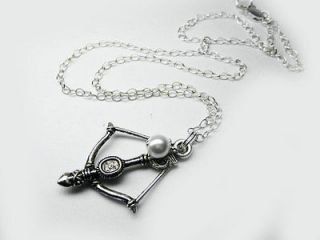 Hunger games Katniss bow and arrow sterling silver chain necklace