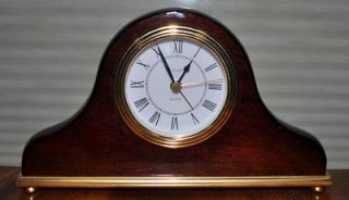 LINDEN WOOD CLOCK GOLD TRIM Mantel 4 X7.75 X1.5 QUARTZ MOVEMENT