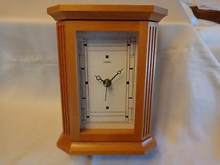Linden Quatrz Mantel/Desk Clock and Key Holder, Wood Case