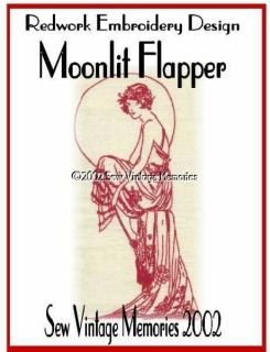 Redwork Hand Embroidery Pattern Moonlit Flapper