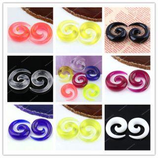 Rainbow 2 10MM Acrylic Plastic Snail Spiral Ear Plug Earring Expander