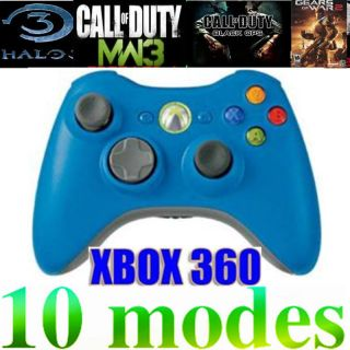 XBOX360 MOD RAPID FIRE CONTROLLER 10 modes for GOW3 MW3 HALO COD Blue
