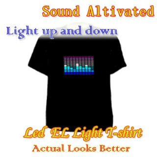 Charming Flashing Light Up and Down Musi Sound Activated LED EL T