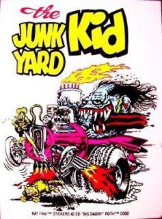 Rat Fink JUNK YARD KID Decal Sticker Hot Rod Gasser Car Street Drag