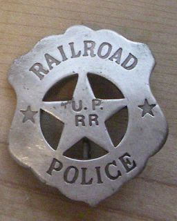 RAILROAD POLICE U.P. RR BADGE BW   30 WESTERN SHERIFF MARSHALL