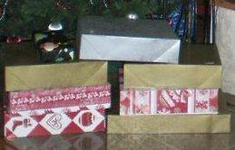 CHRISTMAS WRAPPING 4 GIFT BOX SET SHIRT BOXES GOLD SILVER RED NEW WRAP