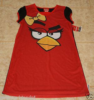 RED Angry Birds Nightgown girls 10/12 sleep shirt NEW costume gown