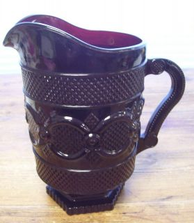 Avon Cape Cod Ruby Red Large Water Pitcher Jug Crystal Glass Vintage