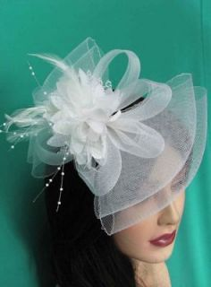 Fascinator Hat Bow Shape Party Hair Clip Great For Wedding White