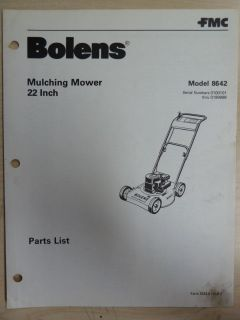 FMC BOLENS LAWN GARDEN EQUIPMENT MULCHING MOWER 22 INCH # 8642 PARTS