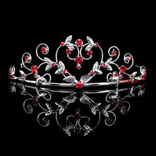 4cm High Heart Red Wedding Bridal Bridesmaid Prom Party Crystal Tiara