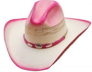 Western Express Hot Pink Silver Conchos Straw Cowboy Hat  L/XL  NEW
