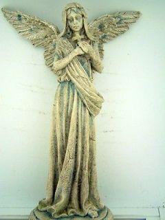 Marble Resin Armaita Weeping Sorrowful Angel Holding Cross Home Statue