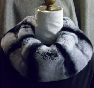 Real Rex Rabbit dyed Chinchilla Loop Fur Collar New made in the U.S.A