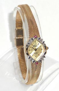 PICCARD WOMENS GOLD DRESS WATCH w/ DIAMONDS & RUBIES IN ROLEX POUCH