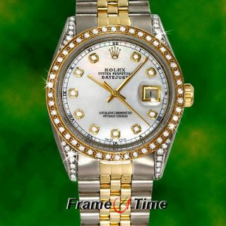 Rolex Datejust Mens Gold & Steel Two Tone Diamond Pearl White Face