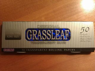 200x ORIGINAL Grassleaf BLUE TRANSPARENT SLIM KING SIZE ROLLING PAPERS