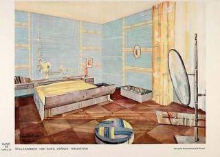 1932 Art Deco Bedroom Furniture Room Bed Mirror Print   ORIGINAL