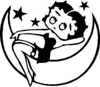 BLACK Vinyl Decal   Betty Boop moon stars movie star fun sticker girl