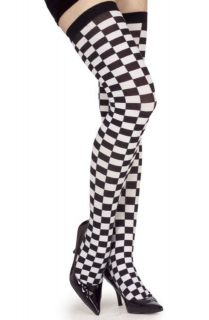 Checkered Thigh High Stockings black white print dance legs adult