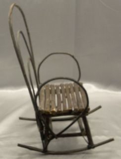 Handmade Doll Teddy Bear Bentwood Wood Twig Rocking Chair Furniture