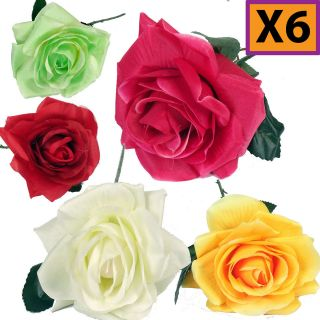 WHOLESALE Artificial Open Silk Roses 5 Colours With Long Stem, Leaf
