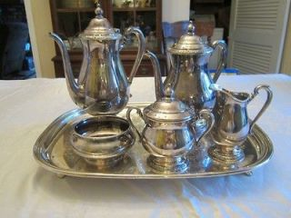 piece silver service tea/coffee with waiters tray International Co