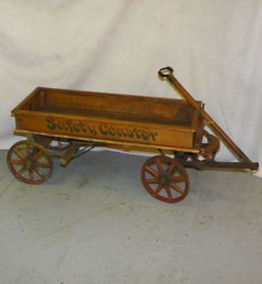 Antique Wooden Spoke Wheel Coaster Wagon