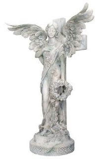 12 Weeping Lailah Angel Holding Wreath Standing w Cross Statue Figure