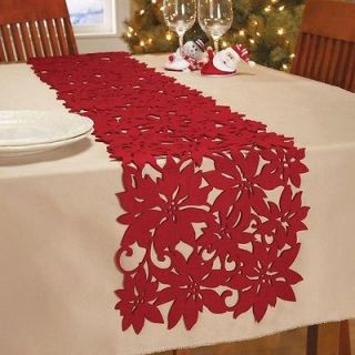 Red Felt Die Cut Poinsettia Table Runner Christmas In Home Decor New