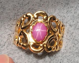 8X6MM LINDE LINDY PINK STAR RUBY CREATED SAPPHIRE RING