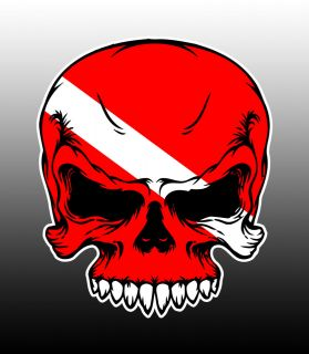 Skull Sticker Decal with Flag face for Tank and Gear Graphic Diver