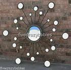 XL 57 Convex Starburst Sunburst Wall Mirror Silver Designer Horchow