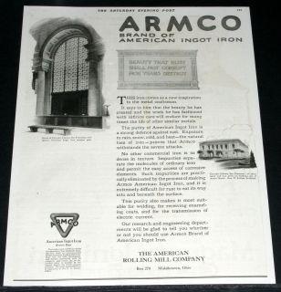 1920 OLD MAGAZINE PRINT AD, ARMCO BRAND OF AMERICAN INGOT IRON
