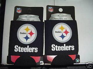 PITTSBURGH STEELERs Football NFL Can Holders Black 2 CT BEER SODA CUP