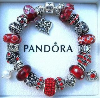 Authentic PANDORA 925 Sterling Silver Bracelet Murano Beads   HEARTS