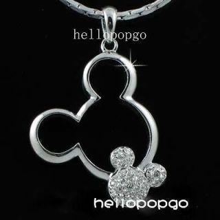 18K White gold GP Swarovski Crystal Mickey Mouse Cute Necklace BBB47
