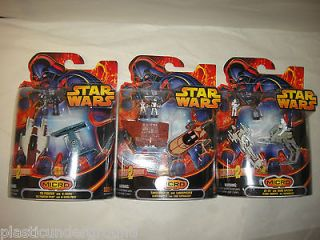 NEW STAR WARS ROTS MICRO VEHICLES SETS W/ 6 SPACE SHIPS AND 6 FIGURES