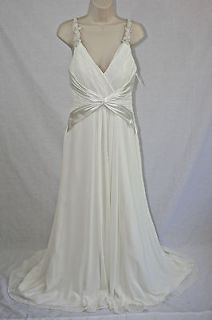 BRIDAL DRESS IVORY CHIFFON WEDDING GOWN WITH BEADED STRAPS SIZE 8