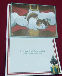 21 Lang Christmas Cards Calico Cat Molly Mangelsdorf on Santas Lap