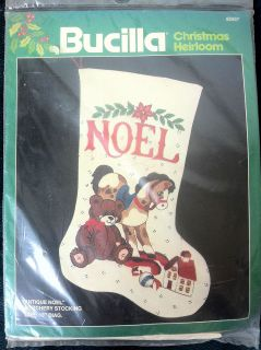 Bucilla Antique Noel Crewel Embroidery Christmas Stocking Kit