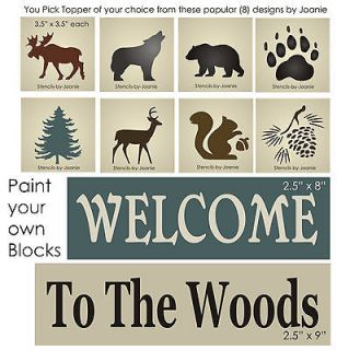 STENCIL Welcome Woods Rustic Bear Moose Wolf Tree Pinecone Squirrel