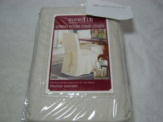 Sure Fit Dining Room Chair Cover   Duck Solid DRC Back Tie   Natural